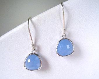 Light Blue Crystal Drop Earrings, Dangle, Teardrop, Bridal, Periwinkle Earring, Sterling Silver Wires