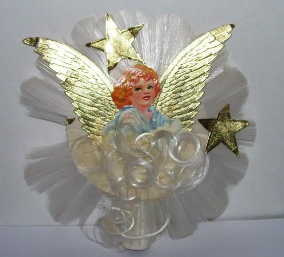 Vintage National Spun Glass Angel Tree Topper