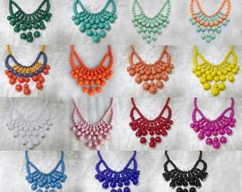 Olivia Necklace - Hot Popular / Beadwork bubble necklace, bib statement necklace, bridal party necklace