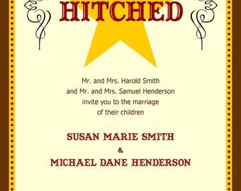 "Gettin' Hitched Wedding Invitation 5""x7"" Custom Digital Card & RSVP Postcard"