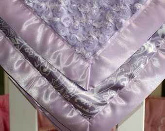 Super Soft Baby Girl Blanket in Lavender and Silky Paisley