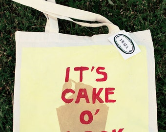 "Sac cabas ""It's Cake O'Clock"" jaune"
