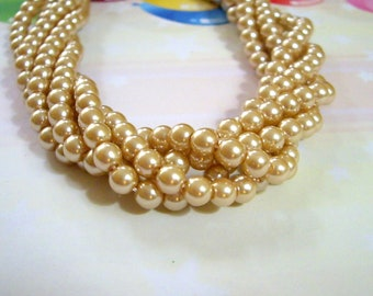 Light Champagne Gold, Large, Glass Pearl Round Beads, 10mm, 42 Beads(approximately)-Full Strand