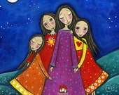 Four Sisters Print Inspirational Whimsical Folk Art Nursery Childrens Art Gift for Sister Best Friends Art - 'Sisters In All Lifetimes'