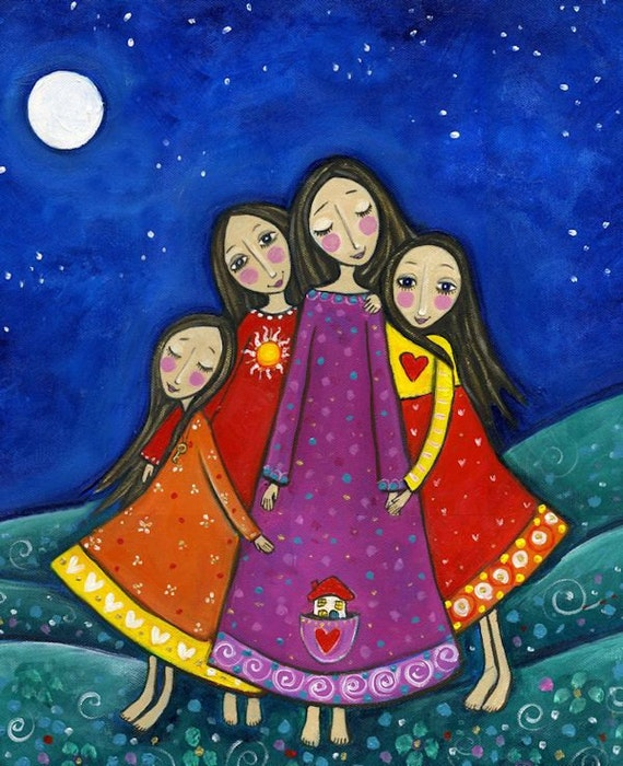 Four Sisters Print Inspirational Whimsical Folk Art Nursery
