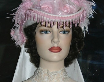 "SASS Hat Victorian Hat Tea Party Hat Wedding Hat ""Spirit of Baton Rouge"" Ivory Pink Hat"