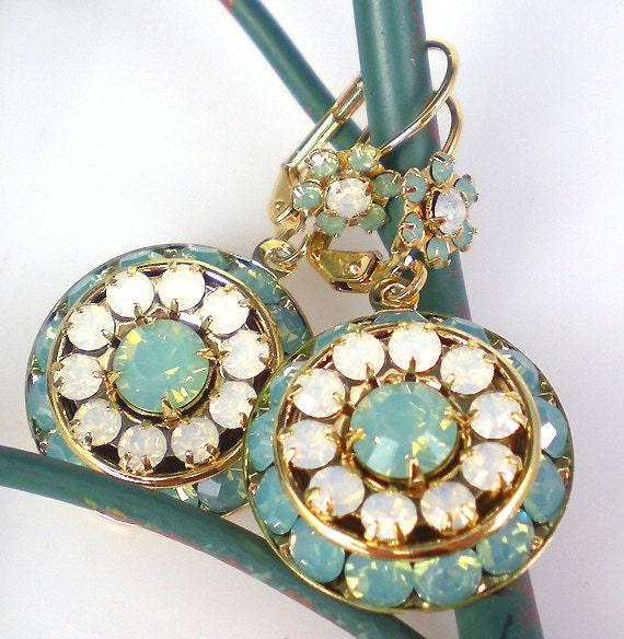 Pacific Opal Rhinestone Earrings Sea Green White Opal Rhinestones Drop Earrings Black Friday Cyber Monday Sale