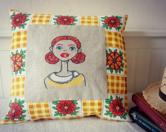 Free Shipping - Red Head - Cross Stitch Embroidered Pillow Cover
