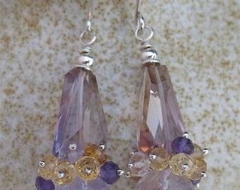 Ametrine Cluster Earrings, Purple Yellow Earrings, Ametrine Jewelry, Purple Yellow Jewelry, Purple Cluster Earrings, Cluster Gemstones