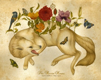 Fox Art Print - The Flower House - Limited Edition giclee print - Nature art, natural history