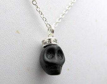 "Queen Black Skull Necklace // Black Howlite Skull // Silver Rhinestone Paved Rondell // 17"" Silver Chain // Halloween // Gift under 25"