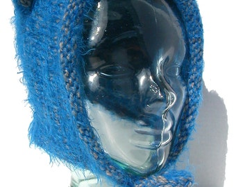 Teddy Bear Ear Hat - Blue and Gray Wool and Flashy Acrylic - Bonnet Style with Strings