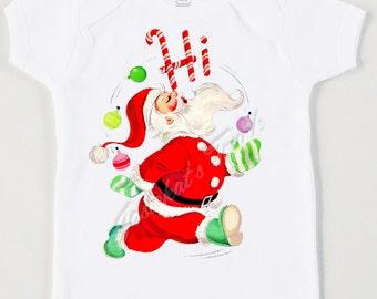 Retro Christmas Tee Hi Santa Custom Size Vintage Tshirt Size NB to XL Youth