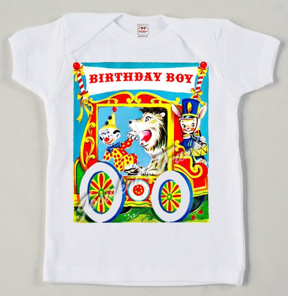 Vintage Circus Wagon Tee Custom Size Retro Baby Birthday Boy
