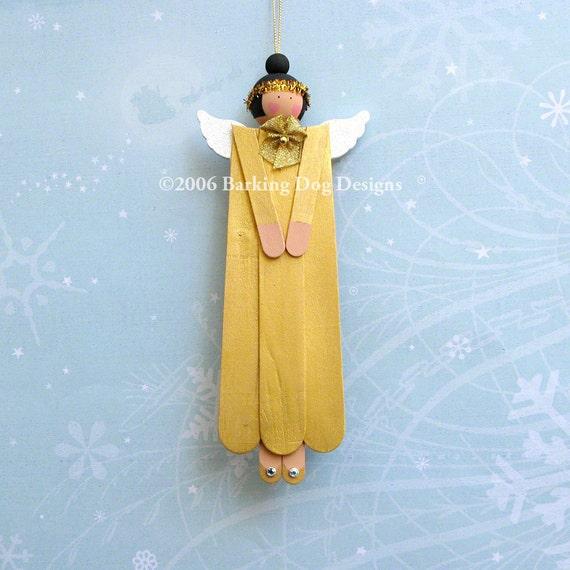 Gold Painted Wood Angel Ornament . Christmas Tree Decoration . Folk Art Ornie