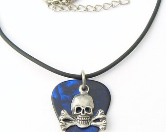 Guitar Pick Deep Blue with Skull and Crossbones Rock & Roll Pirate Skater Goth Biker Necklace