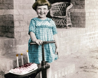 Happy Birthday Little Girl Cake Candles Greeting Card