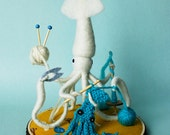 Print: Mr. White Squid, A Very Handy Crafter, Single - Digital Plush Art Photograph Craft Knitting Crocheting Needlefelting Yarn