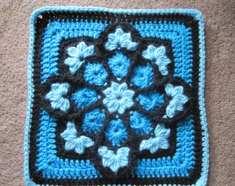 """JulieAnny's Stained Glass Afghan Block Crochet Pattern -12"""" by Julie Yeager"""