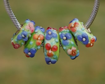 Summer Blossoms - K O Lampwork - Set of 5 Lampwork Beads for add a bead european charm style chains