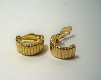 Gold Hoop Earrings Vintage Gold Hoop Clip On Earrings Signed by Gay Boyer