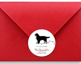 Holiday Labels, Gift Tags, Christmas Stickers, Personalized Labels, Address Labels, Golden Retriever