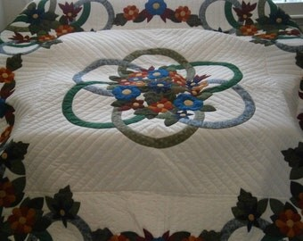 Hand Stitched, Handmade, Amish Pattern, King Size - Three Part Harmony Quilt