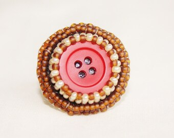 Vintage Button Bead Embroidered Ring- Adjustable