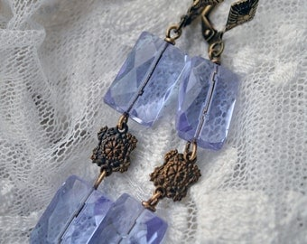 Periwinkle Purple Rain - long Quartz dangle earrings with antique gold ornaments and leverback earwires - OOAK