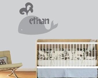 Whale Wall Decal with Custom Name - Custom Vinyl Whale Wall Art Sticker Decal - Baby Boy Nursery Ocean Wall Decal - CM138
