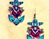 vintage sailor tattoo anchor and rose earrings