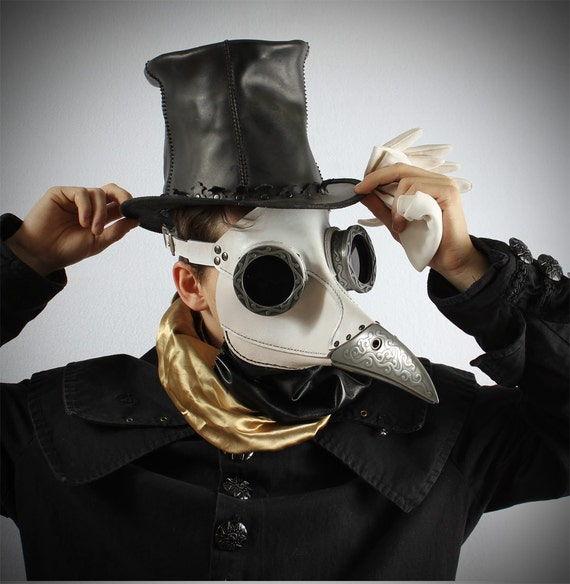 Ichabod, Steampunk Plague Doctor Mask in white