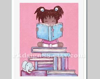Reading print nursery art prints baby nursery wall art kids wall art African art adoption gift books library art - Explore 8 x 10