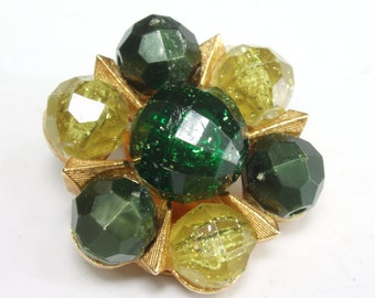 Vintage Earrings, Vintage Clip On Costume Earrings, Goldtone with Green and Chartreuse Beads, Starburst Pattern, Vintage 1960s Granny Chic