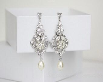 Wedding Chandelier Earrings, Ivory Pearl Dangle Earrings Vintage style Flower Earrings  AMY