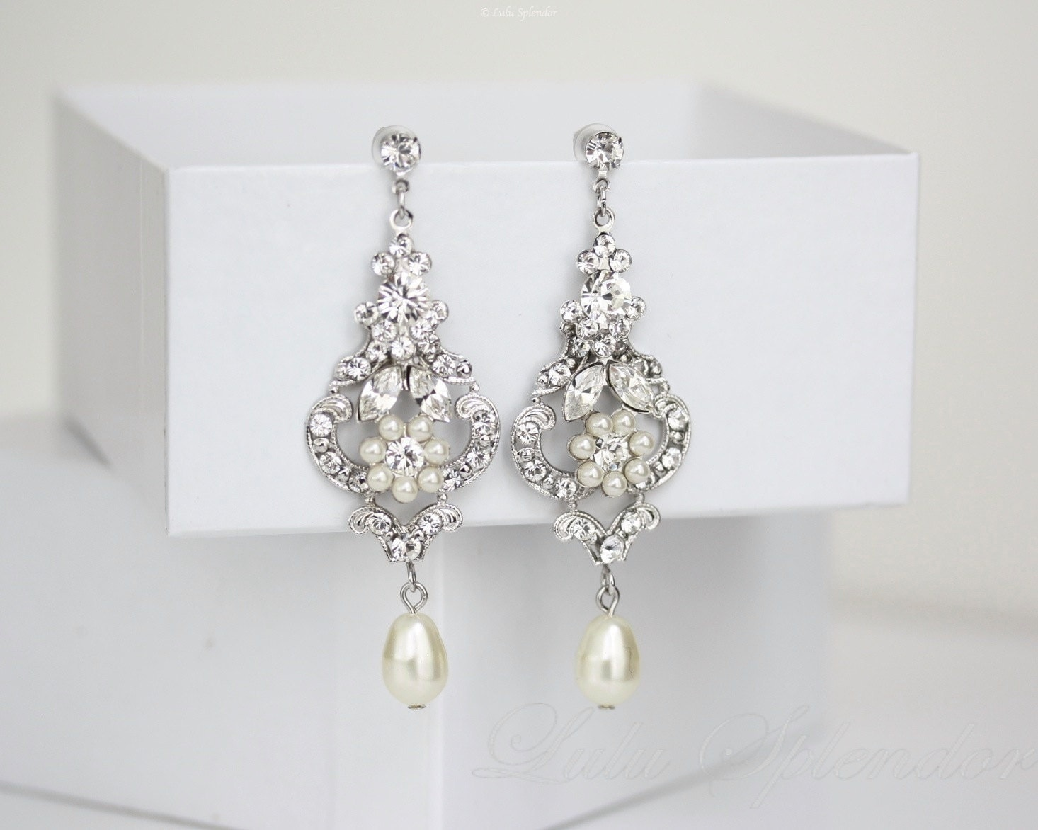 Wedding Chandelier Earrings Ivory Pearl Dangle Earrings