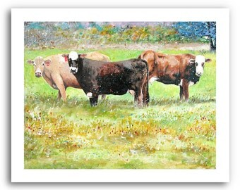 """Cow Art Print """"Cows At The Villa"""" 11x14"""" and 13x19"""" Signed and Numbered"""