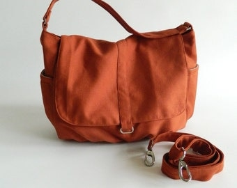 Orange Pumpkin messenger bag, mom cross body diaper bag, zipper handbag, School laptop bag - Sale Sale Sale  30%/DANIEL
