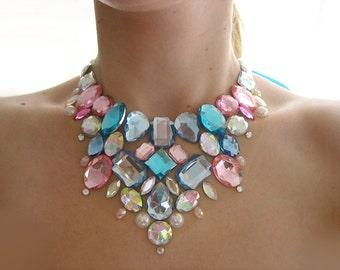 Pastel Pink and Blue Rhinestone Cotton Candy Necklace, Pastel Necklace, Jeweled Statement Necklace, Rhinestone Bib Necklace