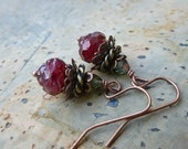 Antique Style Earrings in Ruby and Green Czech Glass and Antique Copper