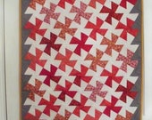 Sale Quilt, SWIRLING STARS, 24 X 33 inch red and white color block quilt