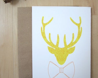 """Antler Holiday Card,  Reindeer Modeling a Bow Tie, Yellow Leaf Pattern Card, 5x7"""", Handmade"""