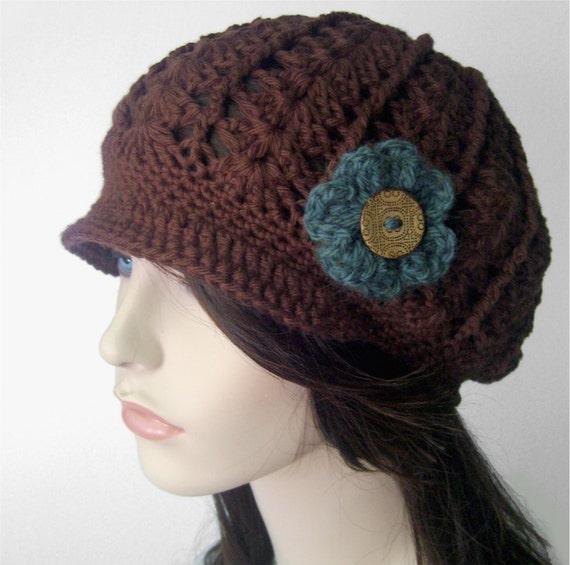 Womens Hat Lightweight Cotton Hat Flower Brimmed Hat Flower Hat LIghtweight Hat Button Lacy Hat Brown Teal Vegan Hat Spring - MADE TO ORDER