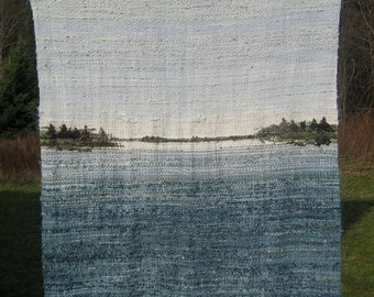 Woven Merino Wool Blanket, Hand-dyed with Lake Landscape