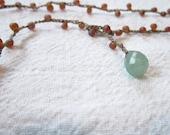 Crochet jewelry Peach and Green Adventurine crocheted lariat necklace