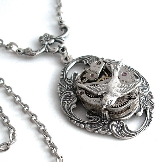 Take Time for Love - Steampunk Pendant Necklace Jewelry