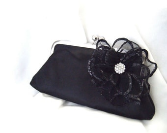 Black Satin wedding party clutch - black glitter rhinestone flower - Little Black Dress Clutch - Holiday Fashion - For Her - Accessory