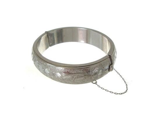 Vintage Wide Bangle Bracelet Silver Engraved Hinged Cuff 1950 Vintage Jewelry