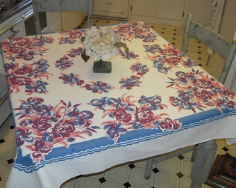 Vintage Tablecloth Pink & Blue Iris and Cabbage Roses