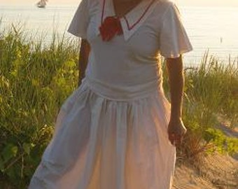 Nautical Skirt and Top with Red Bow Vintage